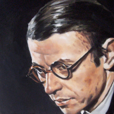 JEAN-PAUL SARTRE. 30.5cm X 30.5cm. SOLD