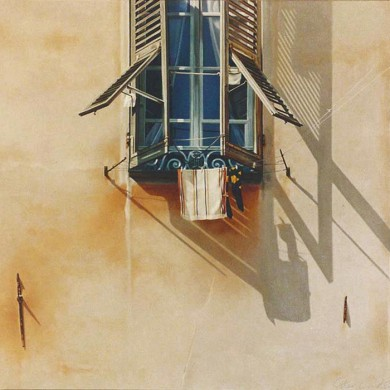 BLUE SHUTTERS. 1991. 140cm X 140cm. SOLD